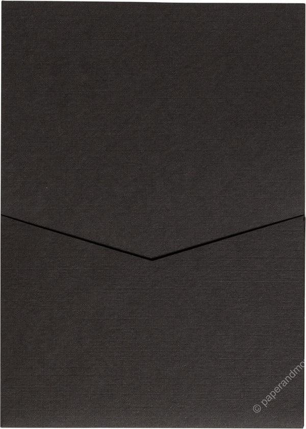 Dark Brown Linen Pocket Invitation Card, A7 Denali - Paperandmore.com