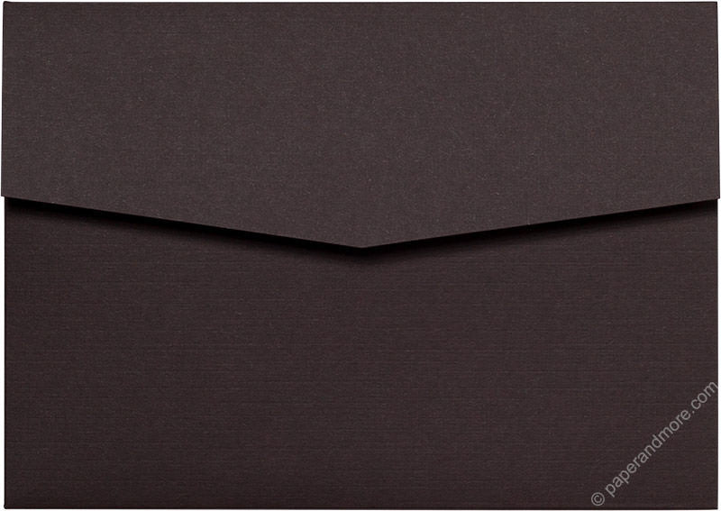 Dark Brown Linen Pocket Invitation Card, A7 Himalaya - Paperandmore.com