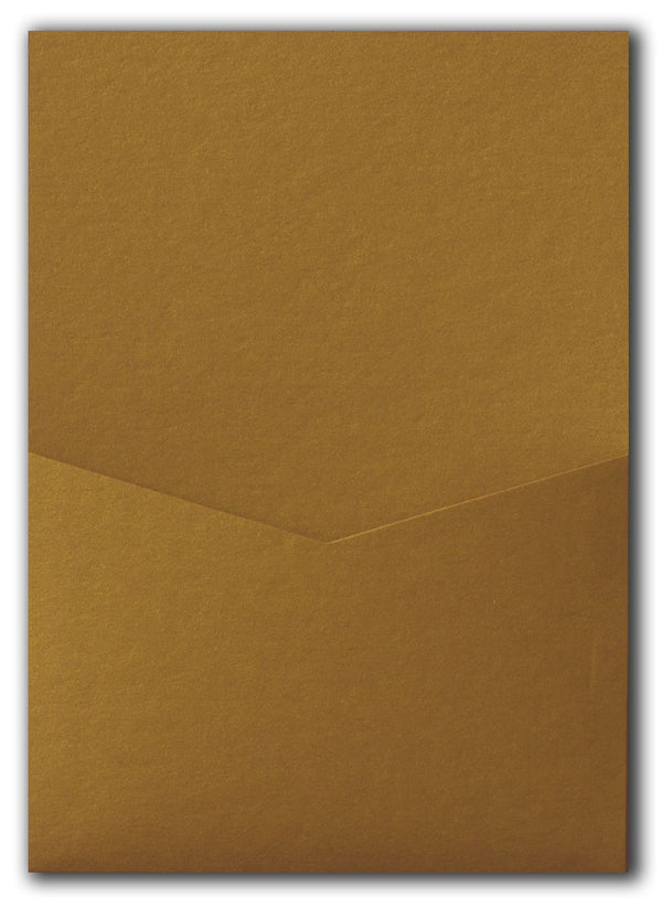 Antique Gold Metallic Pocket Invitation Card, A7 Denali - Paperandmore.com