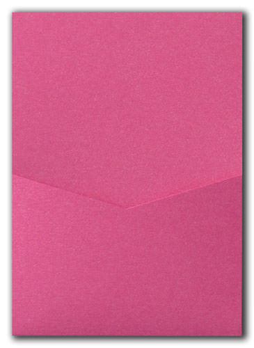 Pink Azalea Metallic Pocket Invitation Card, A7 Denali - Paperandmore.com