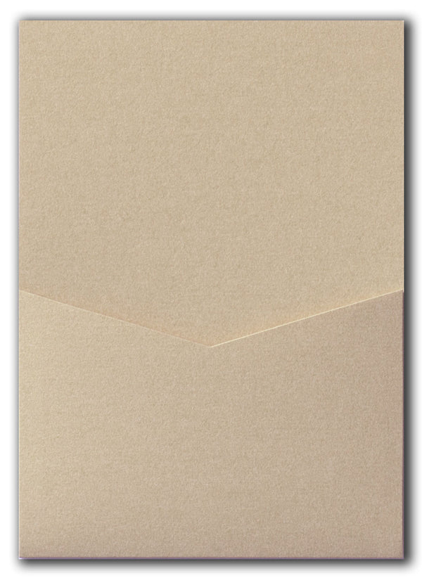 Beige Sand Metallic Pocket Invitation Card, A7 Denali