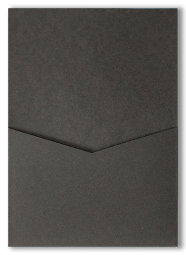 Black Solid Pocket Invitation Card, A7 Denali - Paperandmore.com