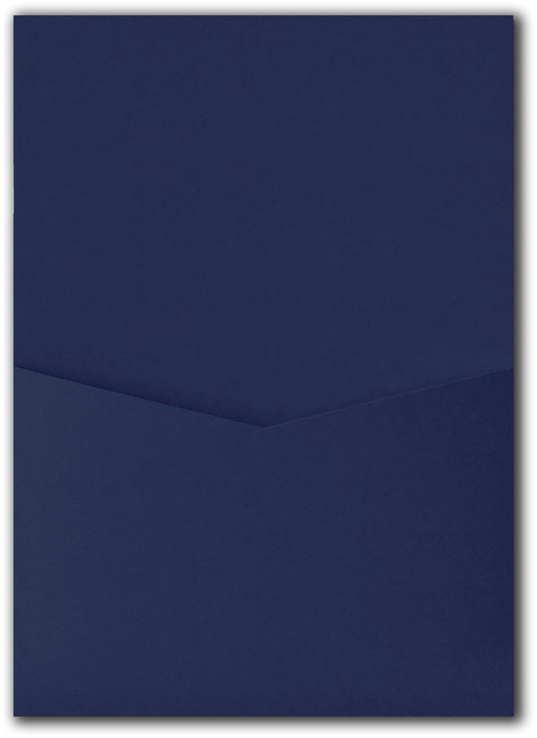Blazer Blue Solid Pocket Invitation Card, A7 Denali - Paperandmore.com