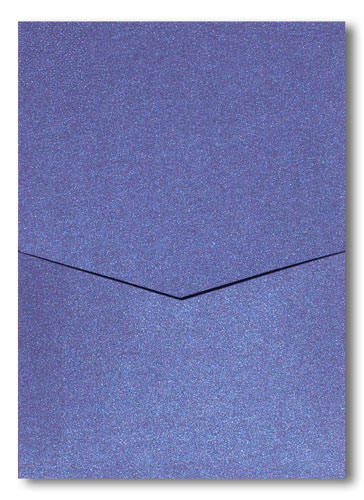 Blueprint Blue Metallic Pocket Invitation Card, A7 Denali - Paperandmore.com