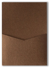 Bronze Brown Metallic Pocket Invitation Card, A7 Denali - Paperandmore.com