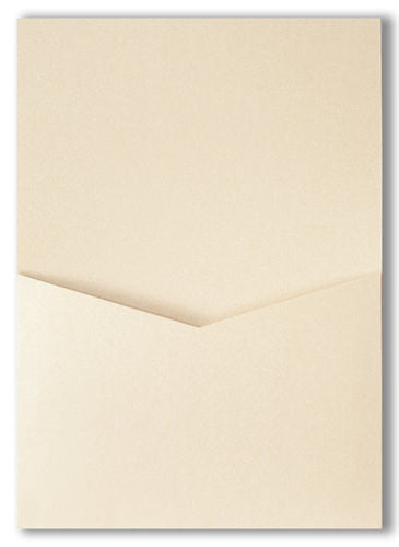 Champagne Cream Metallic Pocket Invitation Card, A7 Denali - Paperandmore.com
