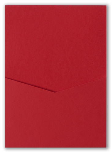 Cherry Red Solid Pocket Invitation Card, A7 Denali - Paperandmore.com