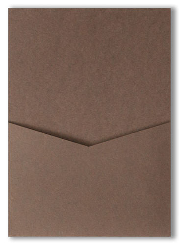 Chocolate Brown Solid Pocket Invitation Card, A7 Denali - Paperandmore.com