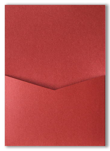 Crimson Red Metallic Pocket Invitation Card, A7 Denali - Paperandmore.com