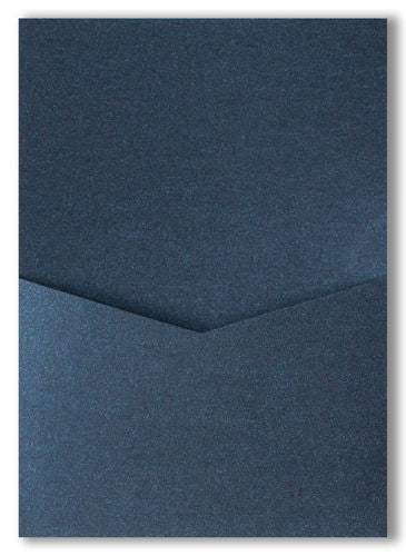 Dark Blue Metallic Pocket Invitation Card, A7 Denali - Paperandmore.com