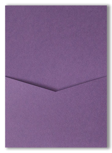 Dark Purple Solid Pocket Invitation Card, A7 Denali - Paperandmore.com