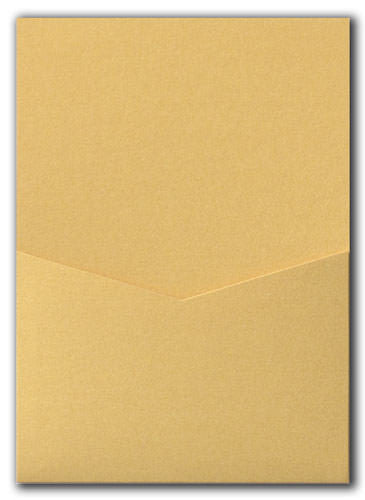 Gold Metallic Pocket Invitation Card, A7 Denali - Paperandmore.com