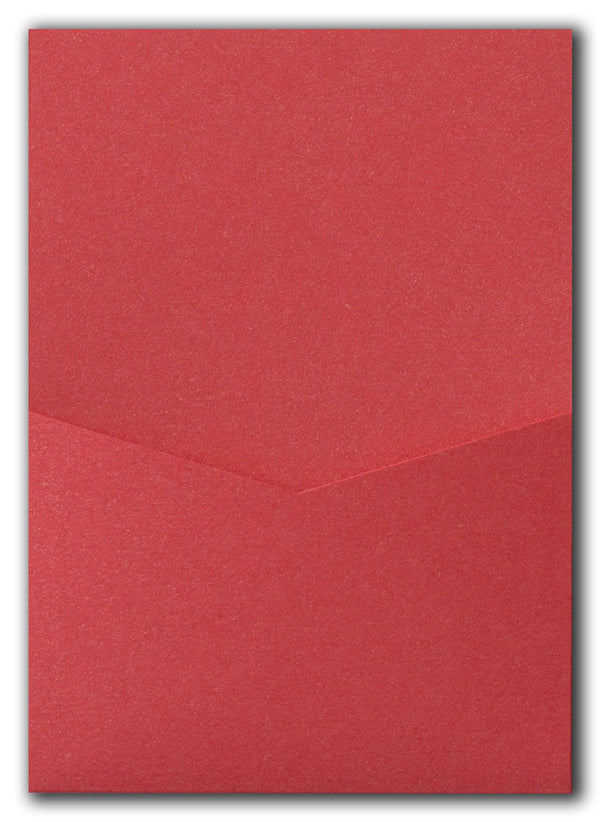 Jupiter Red Metallic Pocket Invitation Card, A7 Denali