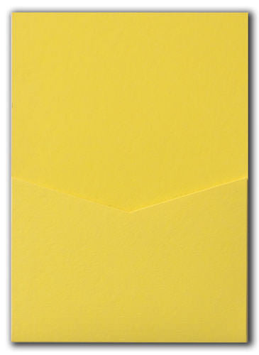 Lemon Yellow Solid Pocket Invitation Card, A7 Denali - Paperandmore.com