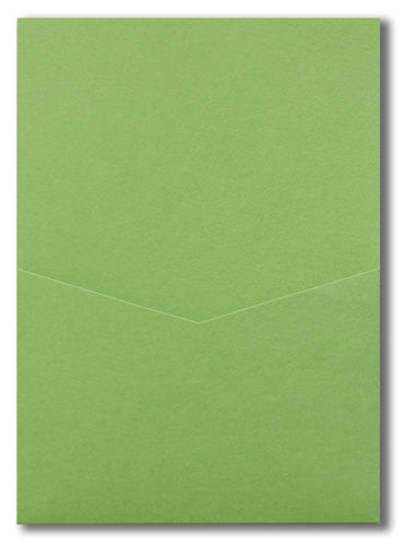 Meadow Green Solid Pocket Invitation Card, A7 Denali - Paperandmore.com