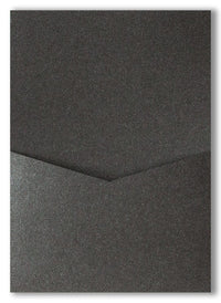 Onyx Black Metallic Pocket Invitation Card, A7 Denali - Paperandmore.com