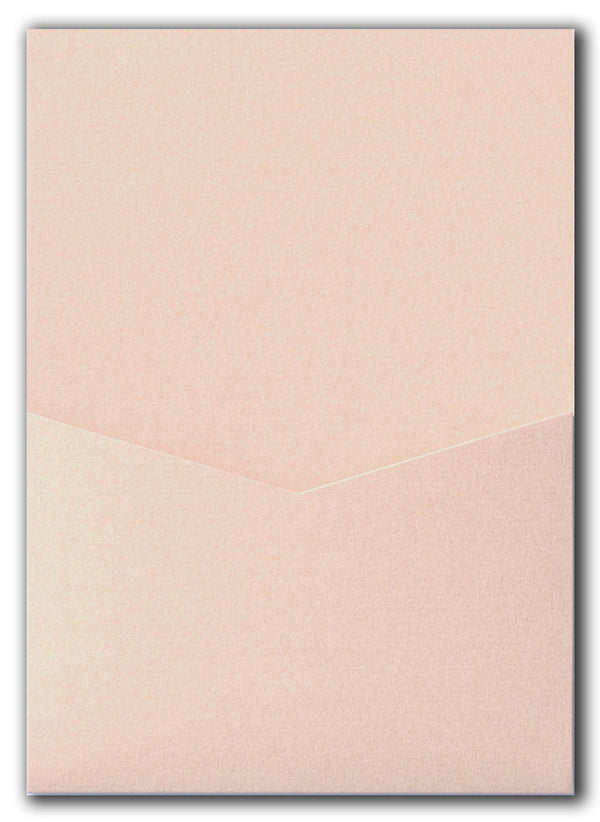 Peach (Coral) Metallic Pocket Invitation Card, A7 Denali