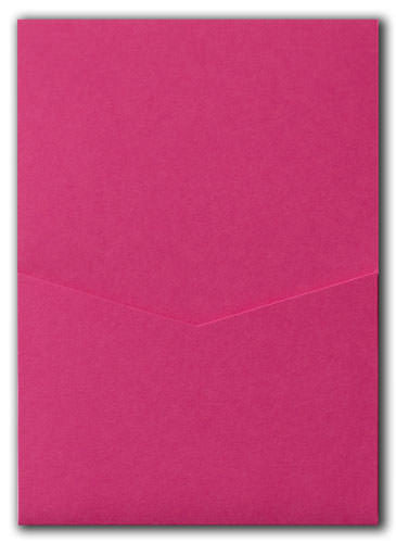 Razzle Pink Solid Pocket Invitation Card, A7 Denali - Paperandmore.com