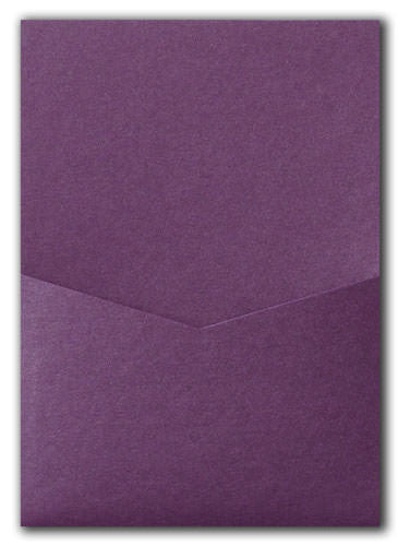 Ruby Purple Metallic Pocket Invitation Card, A7 Denali - Paperandmore.com