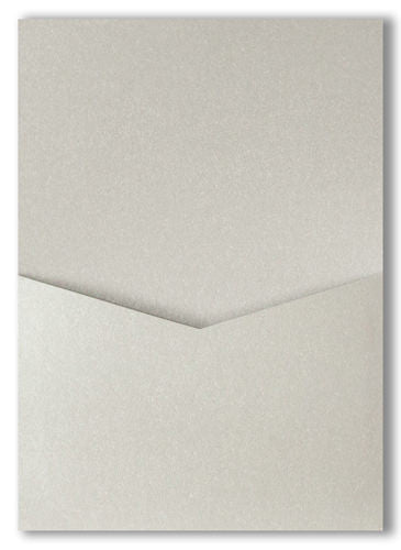 Silver Metallic Pocket Invitation Card, A7 Denali - Paperandmore.com