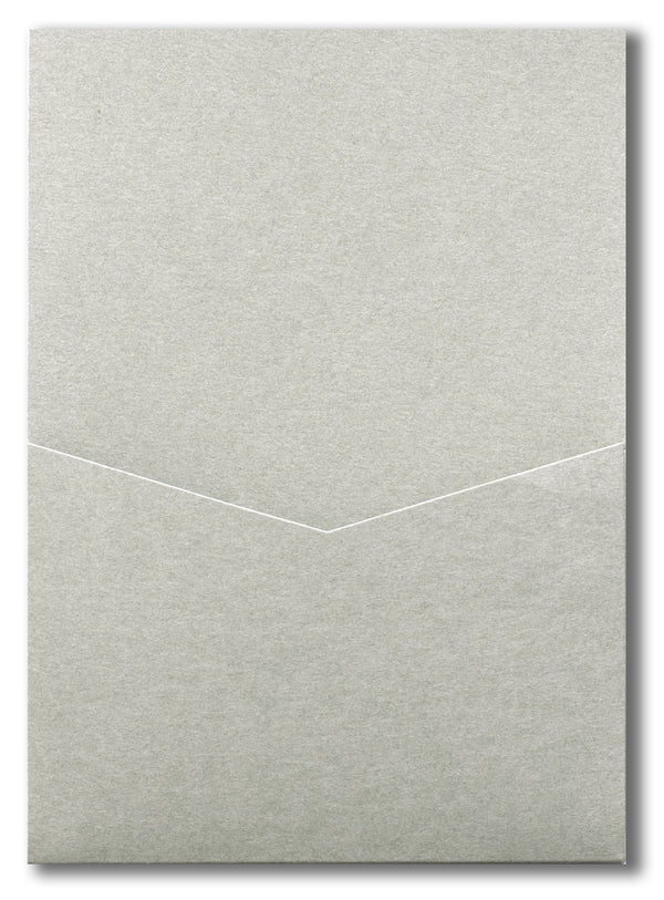 Gray Smoke Solid Pocket Invitation Card, A7 Denali