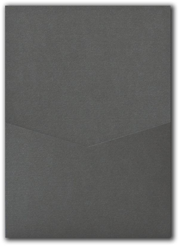 Steel Gray Metallic Pocket Invitation Card, A7 Denali - Paperandmore.com