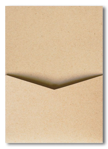 Taupe Brown Recycled Pocket Invitation Card, A7 Denali - Paperandmore.com