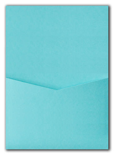 Tiffany Blue Solid Pocket Invitation Card, A7 Denali - Paperandmore.com