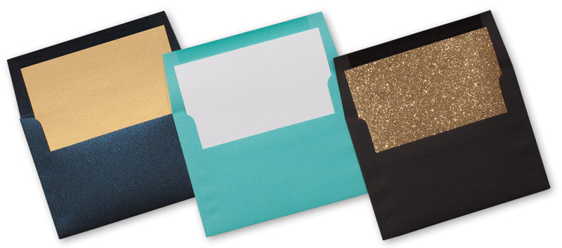 A-7 Botanic Green Metallic - Square Flap Envelope Liner - Paperandmore.com