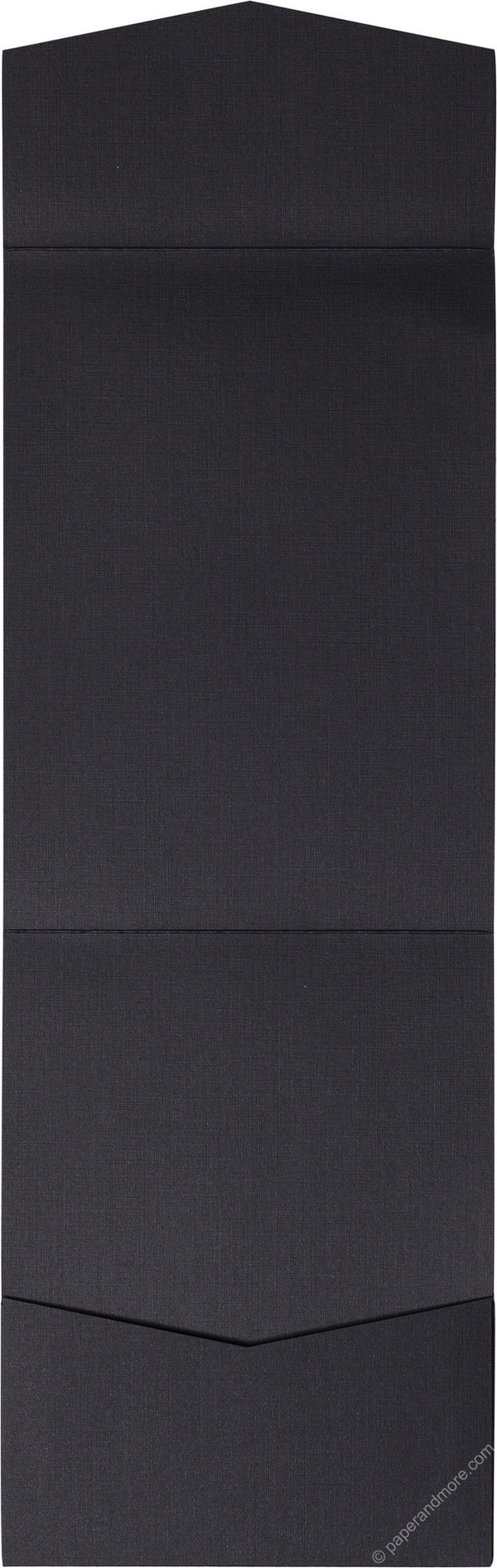 Epic Black Linen Pocket Invitation Card, A7 Cascade - Paperandmore.com