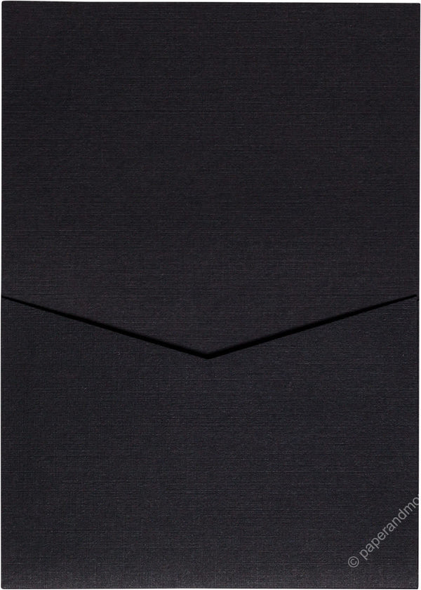 Epic Black Linen Pocket Invitation Card, A7 Denali - Paperandmore.com