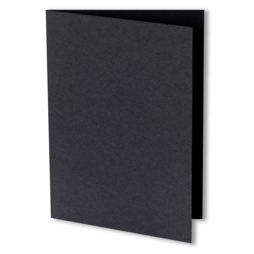 Black Solid Invitation Card, 4 Bar Folded