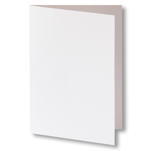 Bright White Linen Invitation Card, A7 Folded - Paperandmore.com