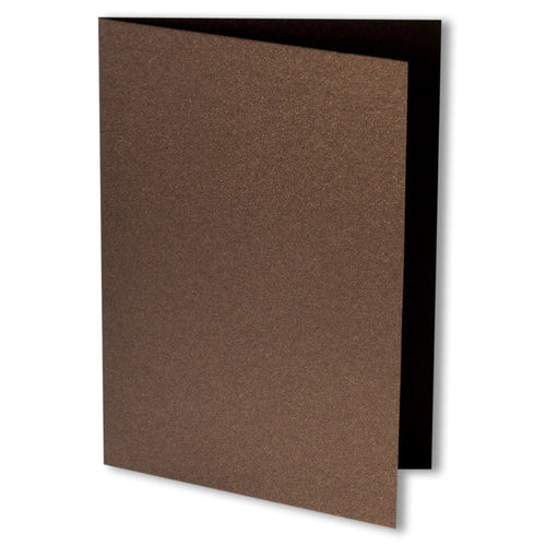 Bronze Brown Metallic Invitation Card, 4 Bar Folded - Paperandmore.com