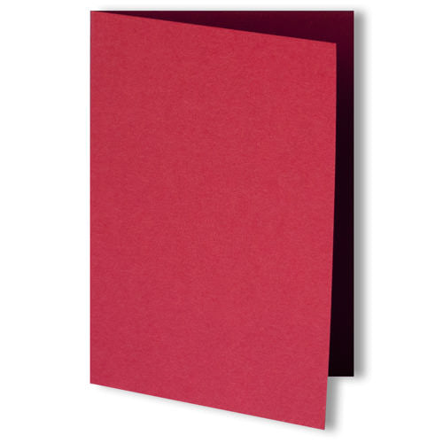 Cherry Red Solid Invitation Card, 4 Bar Folded