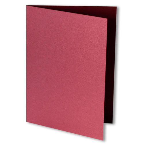 Crimson Red Metallic Invitation Card, 4 Bar Folded