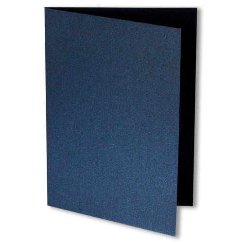 Dark Blue Metallic Invitation Card, 4 Bar Folded - Paperandmore.com