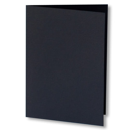 Epic Black Linen Invitation Card, 4 Bar Folded - Paperandmore.com