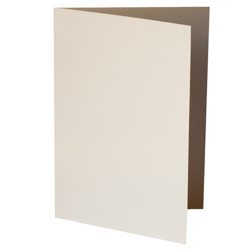 Metallic Cream Linen Invitation Card, A7 Folded - Paperandmore.com