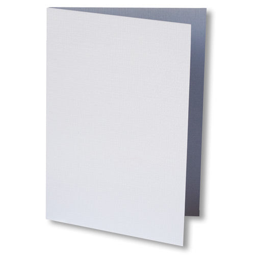 Metallic White Linen Invitation Card, 4 Bar Folded - Paperandmore.com