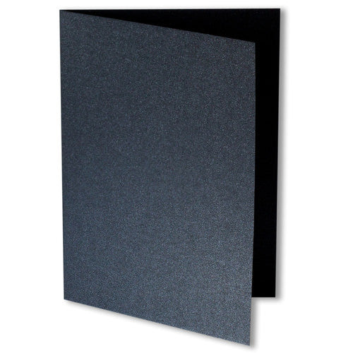 Onyx Black Metallic Invitation Card, 4 Bar Folded - Paperandmore.com