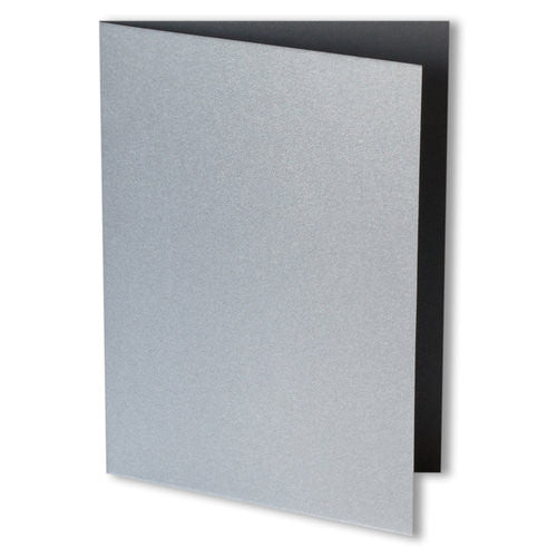 Silver Metallic Invitation Card, 4 Bar Folded - Paperandmore.com