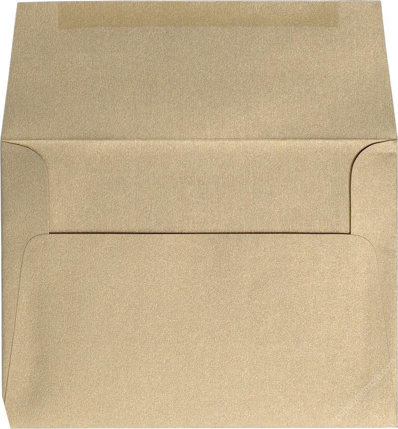 "Outer A-7.5 Gold Leaf Metallic Square Flap Envelopes (5 1/2"" x 7 1/2"") - Paperandmore.com"