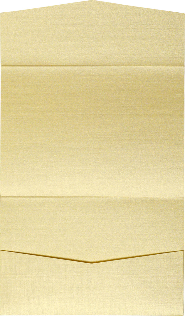 Metallic Gold Linen Pocket Invitation Card, A7 Atlas