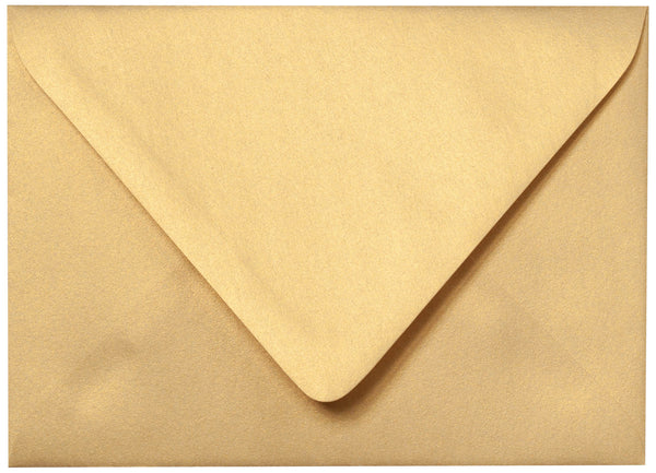 "Outer A-7.5 Gold Metallic Euro Flap Envelopes (5 1/2"" x 7 1/2"") - Paperandmore.com"