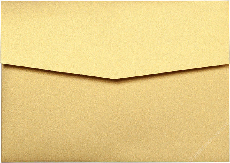 Gold Metallic Pocket Invitation Card, A7 Himalaya - Paperandmore.com