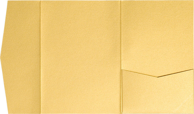 Gold Metallic Pocket Invitation Card, A-7.5 Himalaya - Paperandmore.com