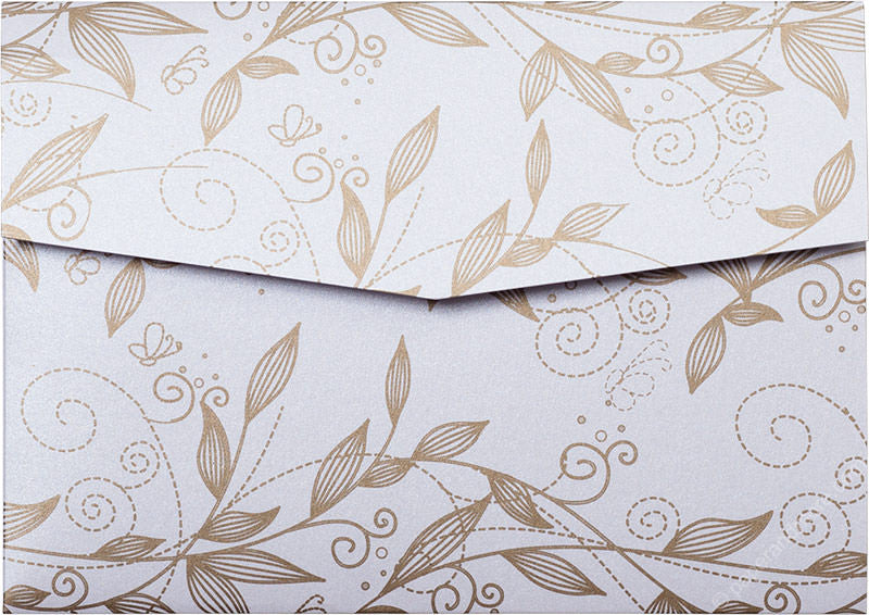 Gold Vine Leaves on Pearl White Metallic, A7 Himalaya
