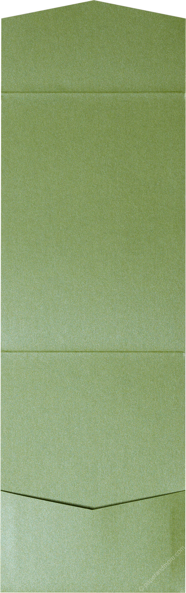Green Fairway Metallic Pocket Invitation Card, A7 Cascade - Paperandmore.com