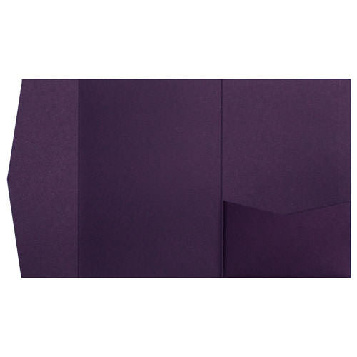 Purple Eggplant Solid Pocket Invitation Card, A7 Himalaya